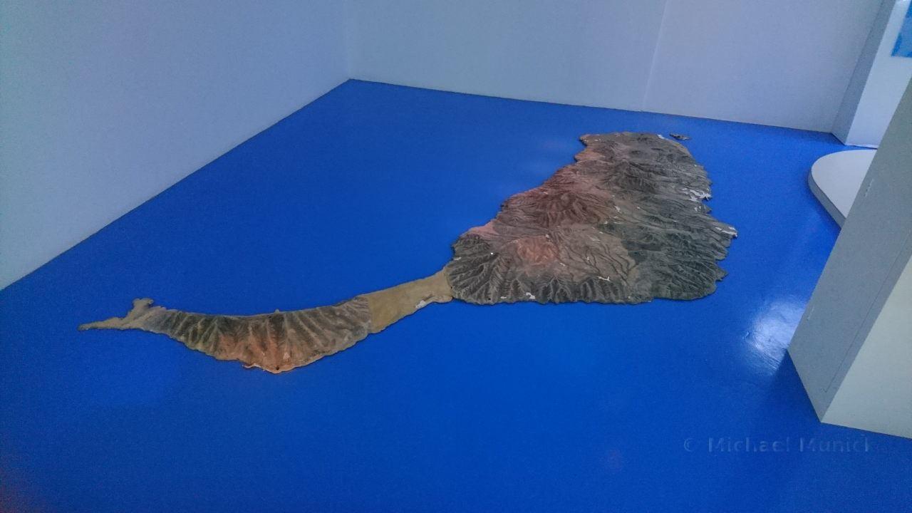 Ein Modell von Fuerteventura in der Ausstellung