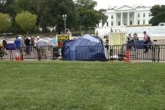 Weißes Haus mit Protestcamp